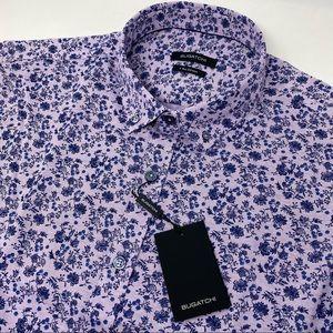 Bugatchi Floral Short Sleeve Button Down Shirt